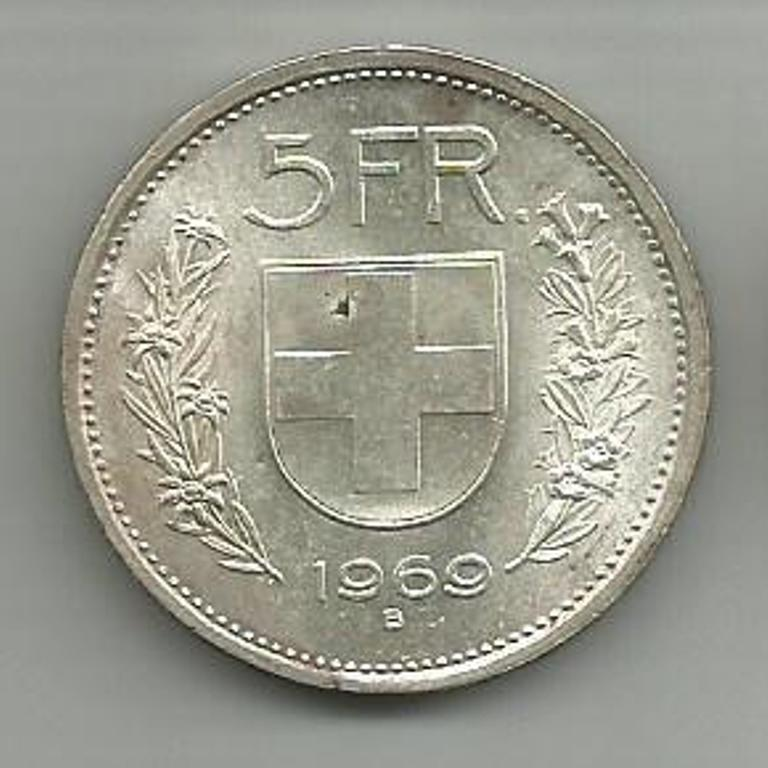 Switzerland 5 Franc Silver Coin 1969